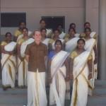 Thomas Grunwell with teachers at his host school