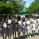 Grade 5 students in Sri Lanka spelling