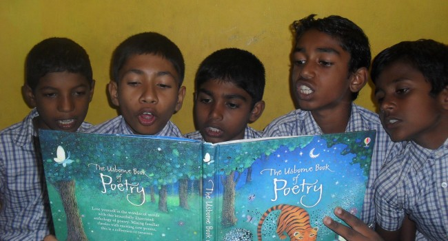 Student's reading their new library books