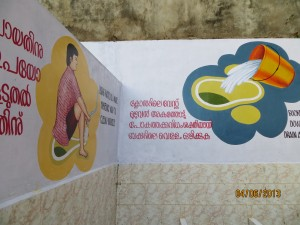 Paintings on the walls to encourage hygiene among students
