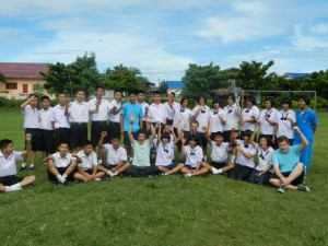 James, Richie and Josh with students at one of the schools they volunteered in June 2012
