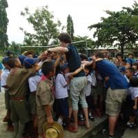 James saying goodbye to his students