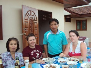 Lucy & Natalie with their Host Family in 2012