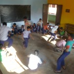Students playing fruit salad