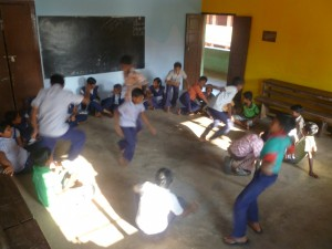 Students playing fruit salad