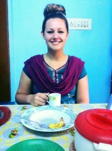 Becky in local dress; churidah