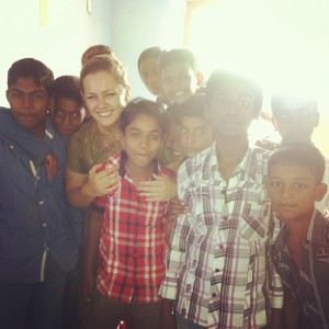 Becky with some of her students
