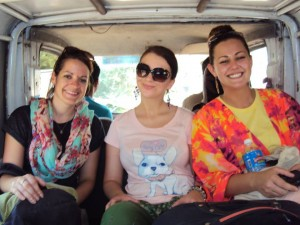 Ola with Lauren (Programme Manager) and Becky (project partner) on the way to their hosts