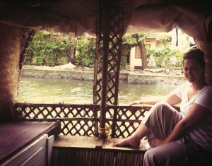 Becky relaxing on a houseboat in Kerala