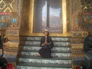 Taz outside of a temple