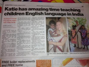 Katie in her local newspaper