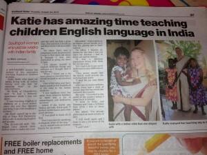 Katie in her local newspaper