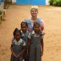 Pauline with some students